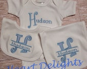 Appliqued Bib Burp and One Piece Set Appliqued Monogrammed with Name Baby Boy Baby Girl Infants Gift