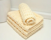 Natural Dishcloths - Eco Friendly Dishcloths - Cream Dishcloths - American Grown Cotton: Set of 4