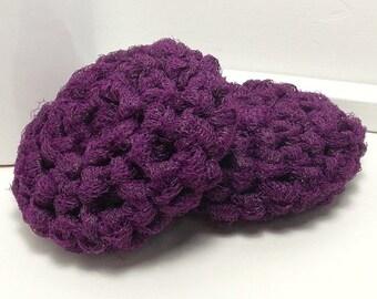 Crochet Scrubbies - Purple Scrubbies - Reusable Dish Scrubbers - Purple Scouring Pads - Eggplant Scrubby - Set of 2 - Crochet Dish Scrubbies