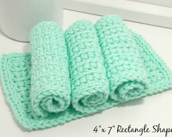 Cotton Dishcloths, Reusable Dish Cloths, Hand Crochet Dishcloths, Eco Friendly Dishcloths, Mint Dishcloths, Kitchen Dish Rags, Set of 4