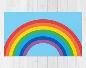4 Background Colours, Rainbow Arch Area Rug 2x3, Rainbow Arch Floor Rugs 3x5, Rainbow Arch Modern Rug 4x6, Nursery rug