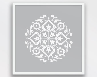 Persian Motif Print, Folk Art, Grey and White Decor, Persian Motif Wall Art, Folk Art wall decor, Light Grey art, Printable Art