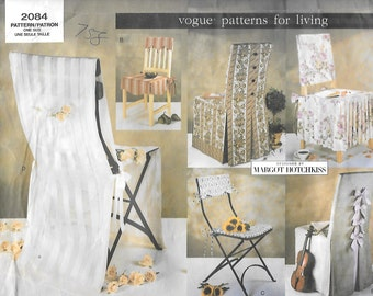 Vogue 2084 Patterns For Living, Chair Covers, For Dining Chairs, Or Folding Chairs, Great Pattern To Decorate For A Wedding, UNCUT