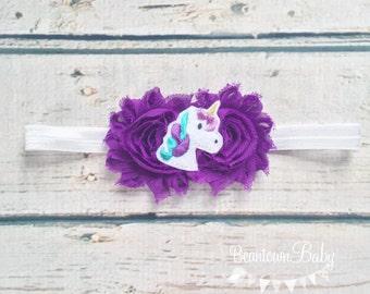 Unicorn Headband, Unicorn Birthday Headband, Unicorn Baby Headband, Purple Unicorn Headband, Baby Headband, Toddler Headband