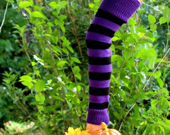 Halloween Purple/Black Striped Leg Warmers 26 inches