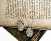 Beer Hops Earrings - Tiny Antique Botanical Print Dangle Earrings in Silver