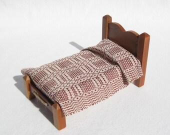Dollhouse Rug Miniature Hand Woven Area Rug Brick Brown 12th Scale Dollhouse Rug Dollhouse Bedding Miniature Susan Ross Rug Miniature Rug