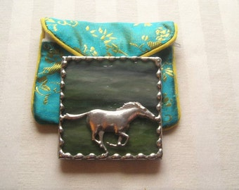 Stained Glass Purse Mirror|Pocket Mirror|Horse|GallopingHorse|Moss Green|Brocade Pouch|Bath & Beauty|Makeup Tool|Handcrafted|Made in USA