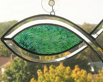 Glass Art Suncatcher|Fish|Stained Glass Suncatcher|Christian Fish (Icthys)|Green|Handcrafted|Glass Art|Made in USA
