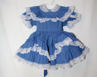 Vintage 1980s Blue Cotton Lace trim Bouncy Layered Crinoline Dress, Pageant and Beauty Contest,