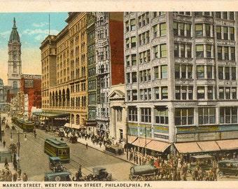 Vintage Postcard, Philadelphia, PA, Market Street, West from 11th Street, 1925