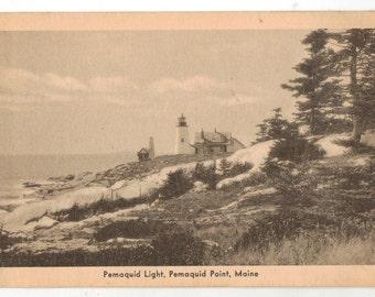Vintage Postcard, Pemaquid Lighthouse, Pemaquid Point, Maine, 1931