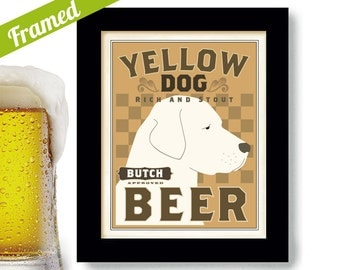 Yellow Lab Labrador Retriever Art Dogs Name Beer Art Framed Personalized Dog Art Print Personalized Yellow Dog Bar Art Dog Lover