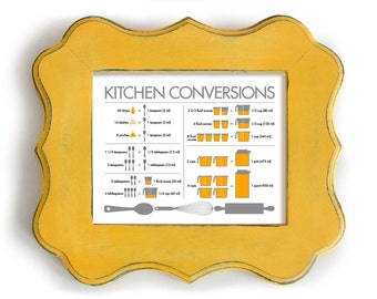 Kitchen Conversion Chart Yellow Kitchen Art Print Kitchen Decor Chef Art Cooking Knowhow Kitchen Help Fork and Spoon Measurement Chart