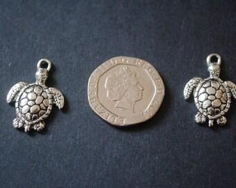 8 tibetan silver turtle charms