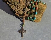 SouthwesternRosary ~ Handwrapped with Natural Turquoise Stones & Glowing Warm Bronze