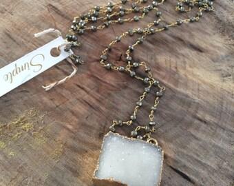 Druzy on pyrite necklace