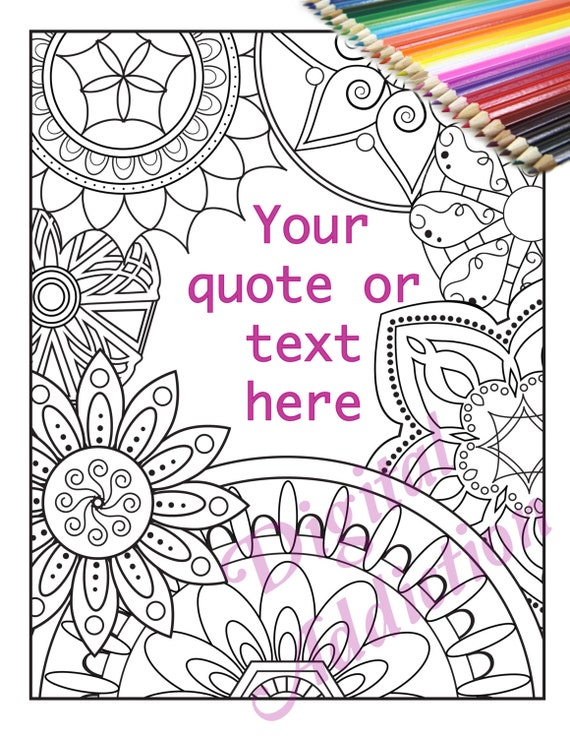 Creative Quotes Coloring Book Just Breathe Colored : Editable add your favorite quote text or bible verse