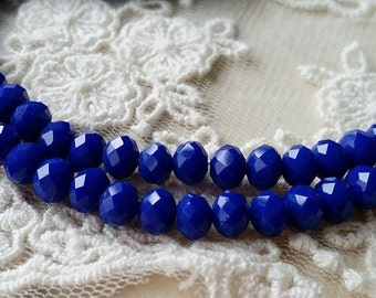 4 x 6 mm 48 Faceted Cut Rondelle Navy Blue Color Glass / Crystal / Lampwork Beads (.ma)