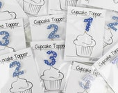 Individual Age Blue Spotty Birthday Cupcake Toppers