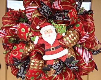 Christmas Deco Mesh Wreath ~Christmas Wreath