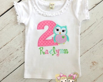 Owl birthday shirt - girls birthday shirt - owl themed birthday - custom embroidered shirt - personalized birthday shirt - pink owl shirt