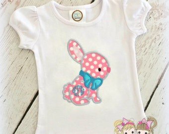 Monogrammed Easter bunny shirt for girls - pink polka dot bunny shirt - 1st Easter shirt - personalized embroidered girls bunny shirt