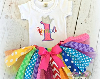 1st Birthday Rainbow Fabric Skirt- Chevron, Polka Dots, Scrap tutu- Custom embroidery