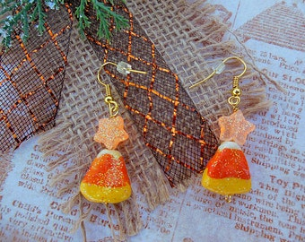 Halloween Earrings, Holiday Jewelry, Glitter Earrings, Handmade Earrings, Cut Earrings, Orange Earrings, Polymer Clay Beads, Holiday Fashion