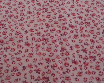 "Feedsack Fabric -- Pink with Flowers -- 1930's or 1940's -- 42"" x 23"""