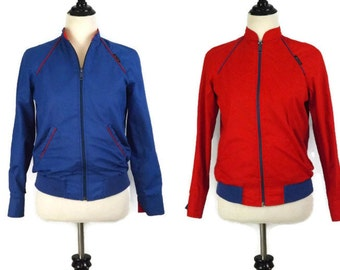 Vintage Nes't Ce Pas Reversible Bomber Cafe Racer Racing Style Jacket Red and Blue Size 7/8