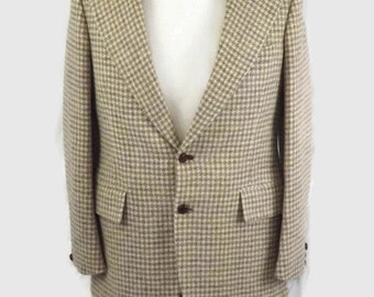 Mens 60s 70s Oleg Cassini Two Button Front Sport Coat Blazer Jacket Suit Jacket Earth Tone Hounds Tooth 100% Wool