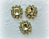 Rectangle Flat back Rhinestone Cabochons. 23mm x 20mm. Set of 3.