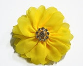 "ON SALE Yellow Chiffon Flowers. 3"" Chiffon Flowers with Glass Rhinestone Center. You Choose Quantity! NEW Style!!  ~Brea Collection"