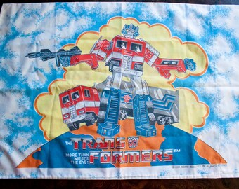 80s Transformers sheets set - Vintage FLAT and FITTED and Pillowcase - Rare Hasbro material bedding