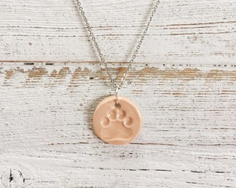 Ceramic Paw Print Pendant, Blush, Unique Gift, Dog Mom, Gift for Her, Pets, Rescue Mom, Ceramics, Paw Print Jewelry, Ceramic Jewelry