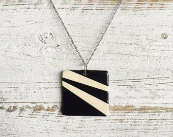Ceramic Square Pendant, Black, Unique Gift, Modern, Gift for Her, Minimal, Ceramics, Fall Fashion, Unique Jewelry, Modern Jewelry