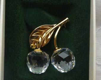 Swarovski Memory Crystal Cherries Brooch