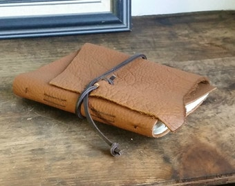 "Slim Leather Journal - Honey Brown Journal 4.5"" x 6"" by The Orange Windmill 1629"