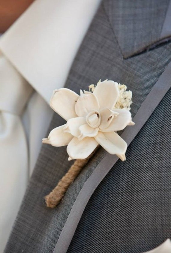 Ivory Boutonniere- Made to Order Groom, Groomsmen, Sola Flower, Wedding, Wedding Flowers, Shabby Chic Wedding, Rustic Wedding