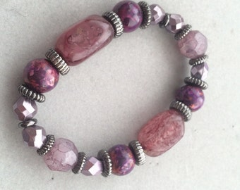Purple Beaded Elastic Bracelet