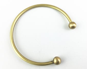 2pcs Raw Brass Brushed Wire Bangle Bracelet with Removable Ball End for Charm Bracelet LB488