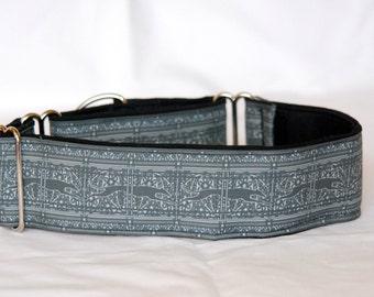 "2"" Martingale Dog Collar Running Greyhounds Paisley Stripe - Slate Gray on Black Backing"