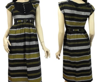 1950's Black and Gold Cotton Day Dress / Peg-Top Silhouette Dress / Orchid Fashions of Montreal / Vintage Junior Fashions / Ladies Small