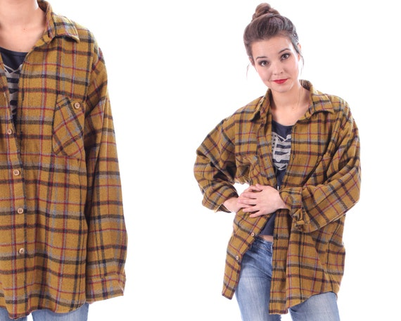 Plaid flannel wool shirt button up 80s grunge mustard brown for Brown and black plaid shirt