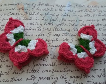 Red and Green Crochet Butterfly Appliques.  Set of two crochet butterfly appliques.