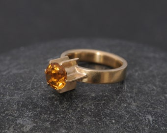 18K Gold Citrine Ring - Citrine Solitaire Ring - Yellow Gemstone Gold Ring - Yellow Citrine Engagement Ring - Handmade Engagement Ring