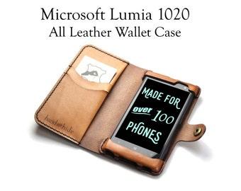 Lumia 1020 Leather Wallet Case - No Plastic - Free Inscription
