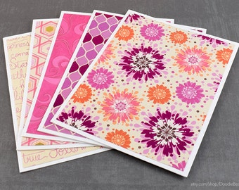 Floral Cards, Assorted Cards, Set of Cards, Blank Greeting Cards, Stationery Cards, Blank Cards, Handmade Cards, Greeting Card Set, Pink