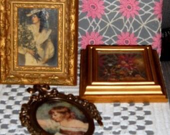 Vintage, Italian Brass Frame,  Victorian Bride, Floral Picture, Gold Ornate Frame, Gold Frame, Oval Frame